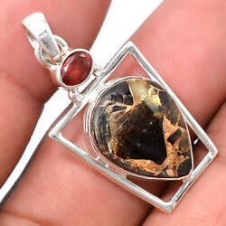 Shell Copper Black Turquoise and Garnet 925 Silver Pendant Jewelry PP43091