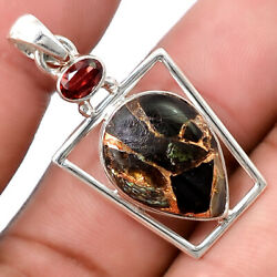 Shell Copper Black Turquoise and Garnet 925 Silver Pendant Jewelry PP43123