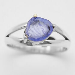 Faceted Natural Tanzanite 925 Sterling Silver Ring Jewelry s.7.5 RR27103