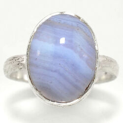 Matte Finish - Blue Lace Agate 925 Sterling Silver Ring Jewelry s.8.5 RR48772