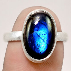 Matte Finish - Blue Labradorite 925 Sterling Silver Ring Jewelry s.8 RR48914