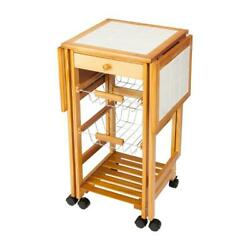 Rolling Wood Kitchen Island Trolley Cart Storage Tile Top Drawers Stand Durable
