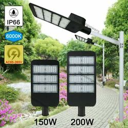 150W 200W Commercial LED Road Street Light Flood Shoebox Industrial Lamp 6000K