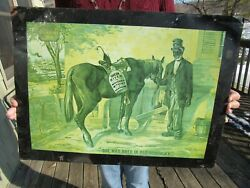 VINTAGE 1899 GREEN RIVER WHISKEY TIN TACKER DEALER SIGN SHE WAS BRED IN KENTUCKY