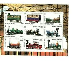 Mongolia Classic Trains Of The World Railroad Sheet Of 9 Stamps MNH $5.85