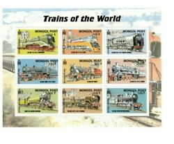 Mongolia Trains Of The World Railroad Sheet Of 9 Stamps MNH $5.85