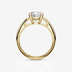 SOLITAIRE ROUND BRILLIANT DIAMOND RING 2 CARATS 18 KT YELLOW GOLD CERTIFIED