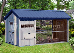 6' x 12' Large Walk in Gable  A-frame Roof Style Chicken Coop Plans  # 80612CG