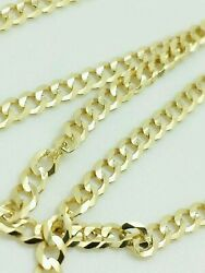 14K Solid Yellow Gold Cuban Chain Necklace 2.4MM 16
