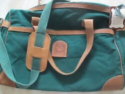 BANNER HOUSE GENUINE TOP GRAIN LEATHER CANVAS DUCK TOTE BAG*NEW WITH TAGS*RARE*