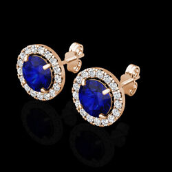 2.00CT Halo Created Sapphire Blue Diamond Stud Round Earrings 14k Rose Gold