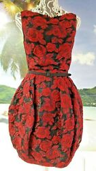 *$4000 NEW F14 OSCAR DE LA RENTA GORGEOUS RUNWAY RED SILK BROCADE DRESS GOWN 2