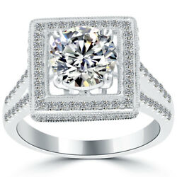 2.77 Carat F-SI2 Vintage Style Natural Round Diamond Engagement Ring 14k Gold