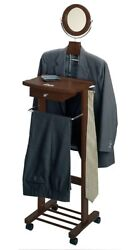 Wood Valet Stand Mens Wooden Wardrobe Closet Clothes Tray Drawer Mirror Standing