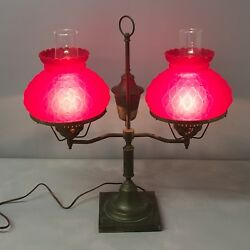Beautiful Vintage or Antique Double Student Hurricane Lamp Ruby Red Fenton Shade $350.00