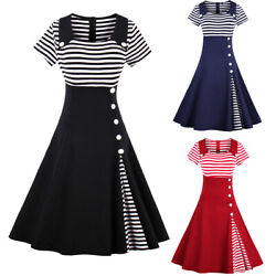 Plus Size Retro 50s Women Rockabilly Pinup Housewife Party Swing Summer Dresses $17.93
