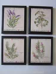 Herbs country kitchen Wall Decor Plaques lavender rosemary parsley 4 pictures $28.97