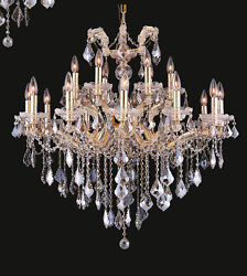 Limited Edition Maria Theresa Chandelier Golden Teak Crystal G 18Lts t 34