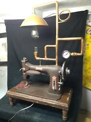 HANDMADE STEAMPUNK SEWING MACHINELAMPINDUSTRIALRE PURPOSEVINTAGEDESKGOTHIC $350.00