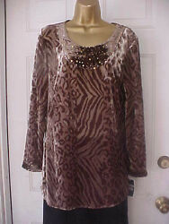 Sharon Young NWT Small Shades of Brown on Taupe Sequined Tunic Top $19.99