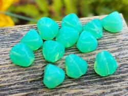 Gorgeous Vintage Opalescent Jade Green Glow German Glass Loose Beads 10mm