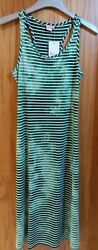 Peace Love Maxi Women#x27;s Green Water Ripple amp; White Horizontal Stripe Dress Sz M $23.00