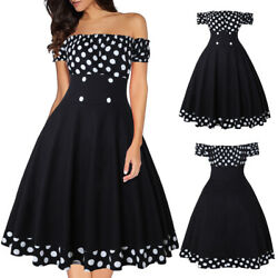 Womens Off Shoulder Vintage 50s Pinup Swing Evening Party Rockabilly Retro Dress $18.69