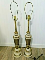 Hollywood Regency Pair Of Vintage Lamps Mid Century Modern Brass and Enamel $89.99