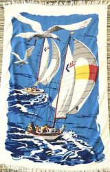 Vintage Cannon Beach Towel Sail Boats Seagulls 100% Cotton USA Fringe