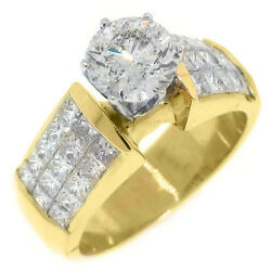 3 CARAT WOMENS DIAMOND ENGAGEMENT RING ROUND PRINCESS CUT INVISIBLE YELLOW GOLD