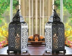 Set of 2 Exotic Matte Black Iron Moroccan Style Tower Candle Lanterns w Cutouts