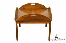 1960's Vintage Antique Bookmatched Banded Mahogany Butler's Coffee Table
