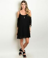 New Wanderlust LA Black Boho Dress with Expossed Shoulder and Lace Trim S 2XL $14.99