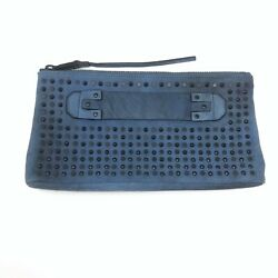 New She + Lo Next Chapter Studded Clutch Blue Zippered Distressed NWOT $158