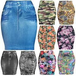 Womens Basic Seamless Fitted Printed Floral Denim Mini Skirt $7.95
