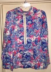 Lilly Pulitzer She She Shells Starfish Skipper Popover Jacket Sweater Large L