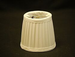 Clip On Soft White Pleated Fabric Replacement Shade Chandelier Flame Tip Bulbs $12.99