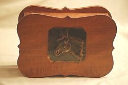 Old Vintage Wood Wooden Jewelry Trinket Box w Decorative Copper Horse Design