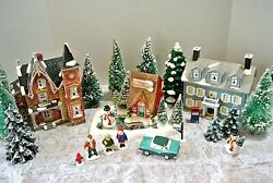 Dept 56 Snow Village Winter 15 Piece Set Houses And Matching Accessories #1033