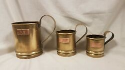Vintage Set of 3 brass and copper beer tankards