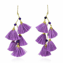 Zig Zag Chandelier Purple Tassels Amethyst and Brass Drop Earrings $16.99
