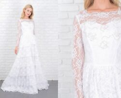 Vintage 70s Wedding Dress Tiered Floral Lace Train Beaded Sheer Sleeve XS $143.00