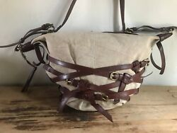 Olivia Harris Joy Gryson Natural Canvas & Chocolate Brown Leather Shoulder Bag