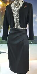 *$1200 NEW OSCAR DE LA RENTA STUNNING BLACK SATIN SILK SKIRT RUNWAY US 4