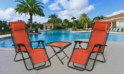 Zero Gravity Folding Lounge Beach Chairs Patio Outdoor W Table And Cup Holders