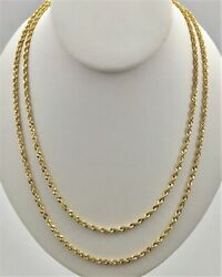 10K Solid Yellow Gold 3mm Necklace Gold Rope Chain 16