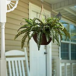 Boston Fern Indoor Covered Outdoor Hanging Basket Porch Patio Faux Floral Decor $34.99