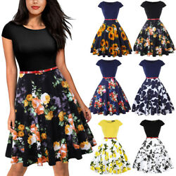 Summer Women Vintage Floral Belt A Line Swing Dress Casual Work Party Cocktail $17.27