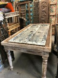 Antique Rustic Doors Table Reclaimed Solid Wooden Dining Table Conscious Design