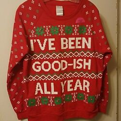 NEW I#x27;ve Been Good ish Large LIGHTS UP Sweatshirt Christmas Ugly NWT
